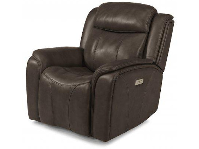 Surprising Flexsteel Paisley Leather Power Recliner With Power Headrest Machost Co Dining Chair Design Ideas Machostcouk