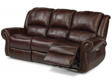 Flexsteel Patton Leather Power Reclining Loveseat With