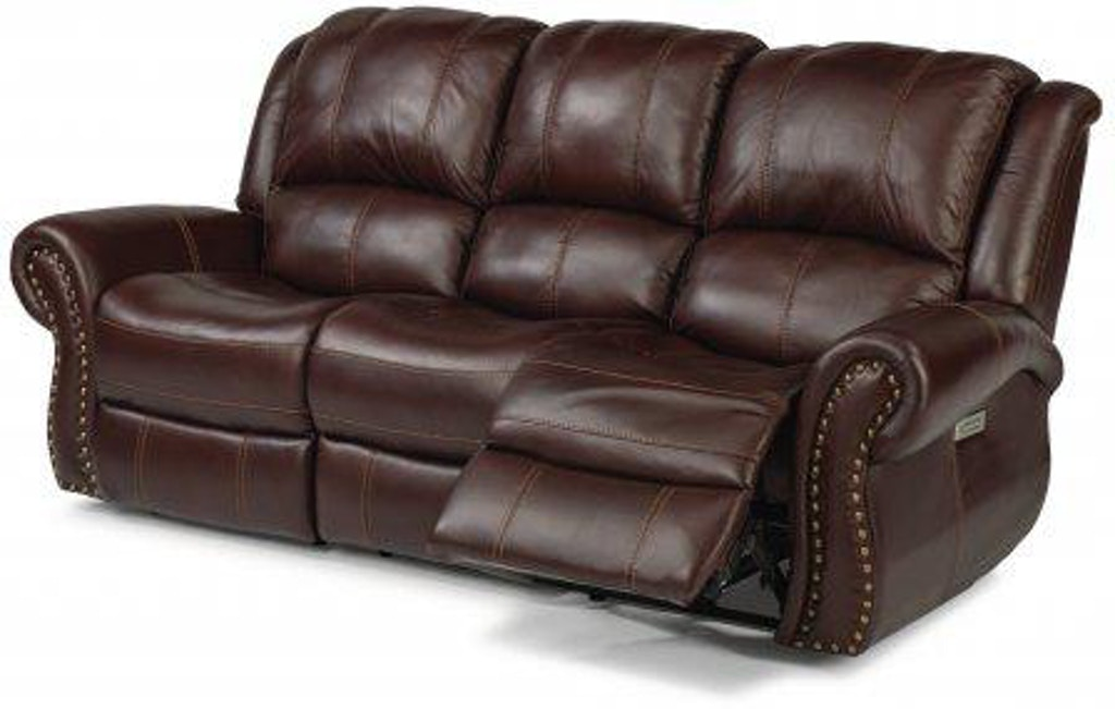 Flexsteel Patton Leather Power Reclining Sofa With Power
