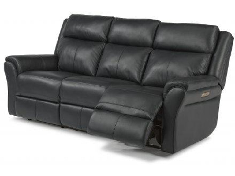 Flexsteel Pike Leather Power Reclining Sofa with Power ...