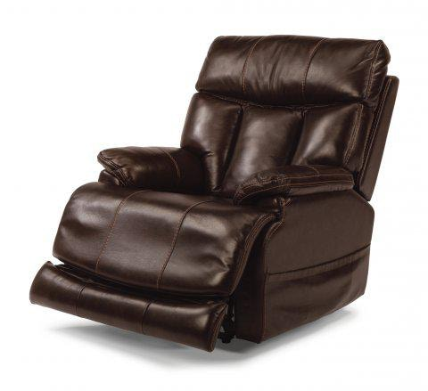 flexsteel clive leather power recliner with power headrest 1595 50ph rh keyhomefurnishings com