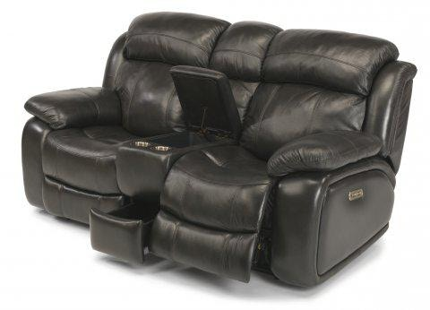 Flexsteel Como Leather Power Reclining Loveseat With Console And
