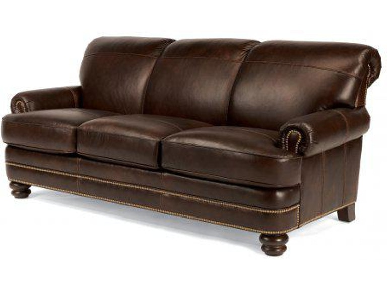 Flexsteel Bay Bridge Leather Sofa With Nailhead Trim B3791-31 ...