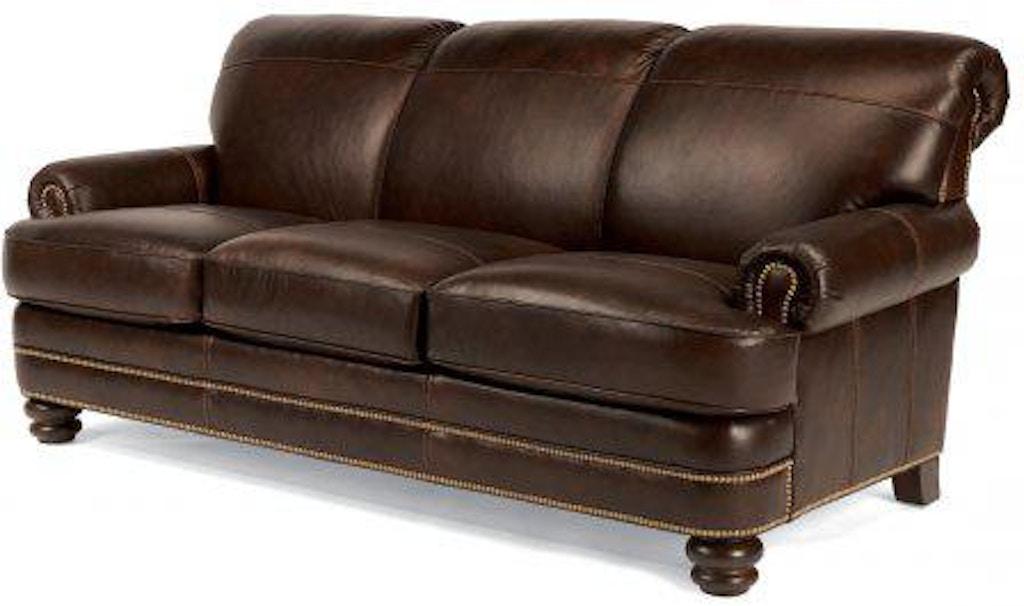 Flexsteel Bay Bridge Leather Sofa With Nailhead Trim B3791-31 ...