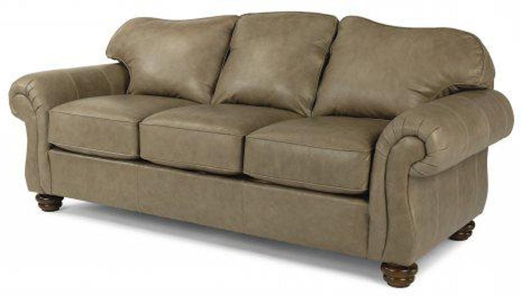 Flexsteel Bexley Leather Sofa Without Nailhead Trim 3646-31 ...