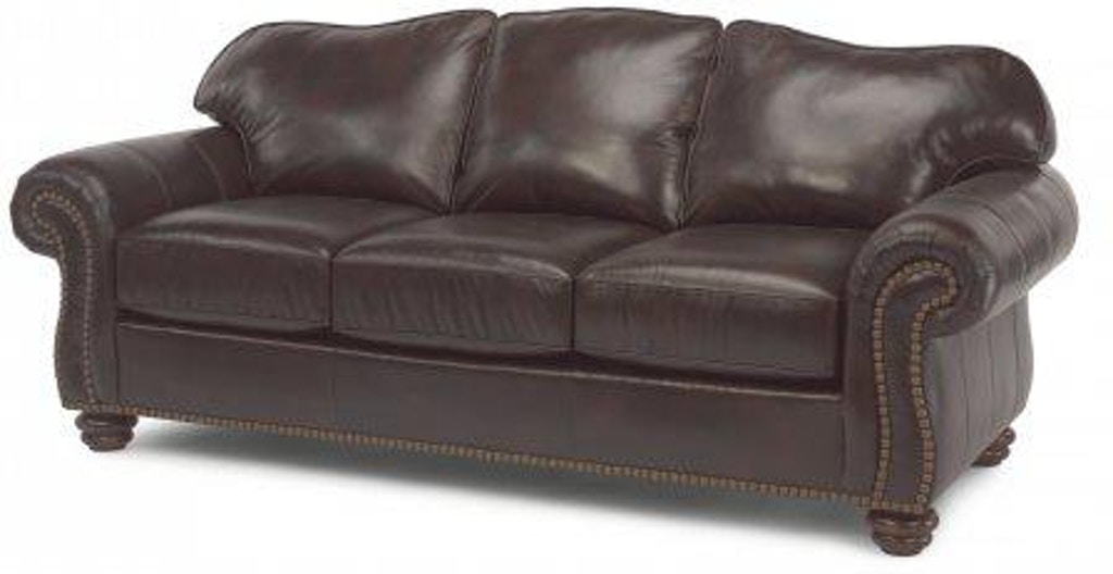 Flexsteel Bexley Leather Sofa With Nailhead Trim 3648 31