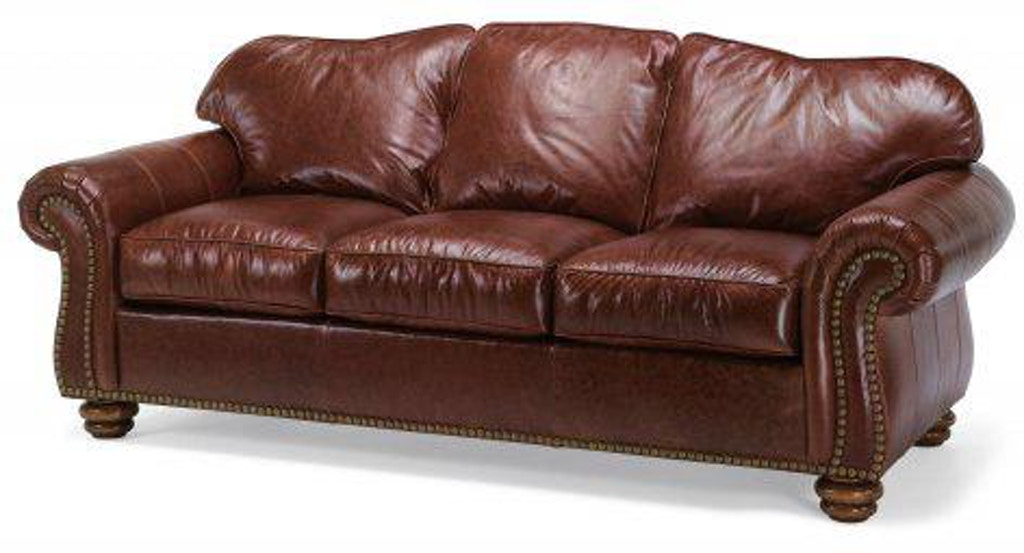 Flexsteel Bexley Leather Sofa With Nailhead Trim 3648-31 ...