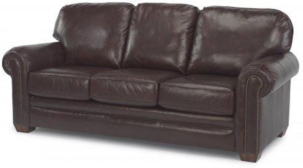 Flexsteel Harrison Leather Sofa With Nailhead Trim 3270-31 ...