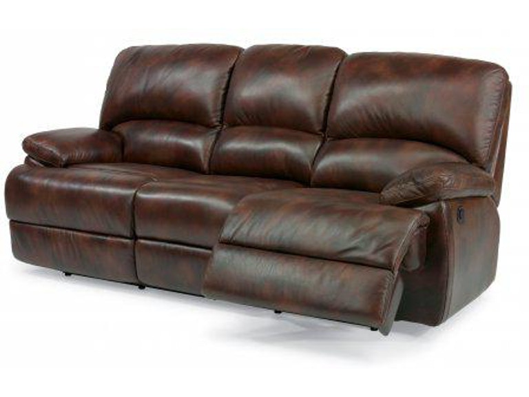 Flexsteel Dylan Leather Three Cushion Reclining Sofa With Chaise Footrests 1927 63p In Portland