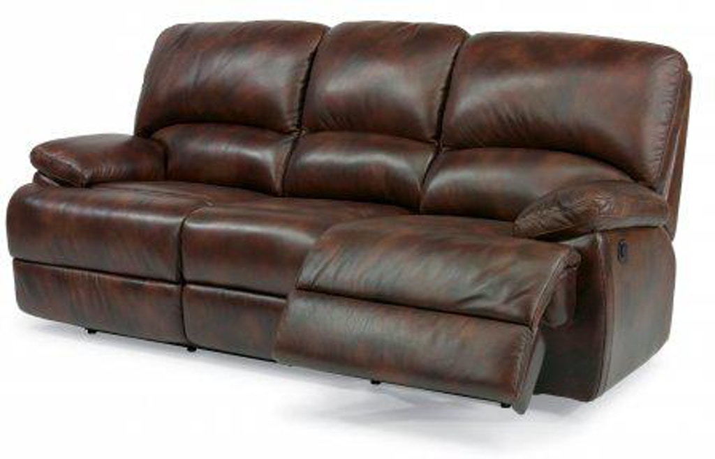 Flexsteel Dylan Leather Three Cushion Power Reclining Sofa with ...