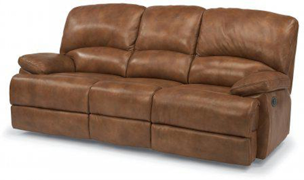 Flexsteel Dylan Leather Three Cushion Power Reclining Sofa