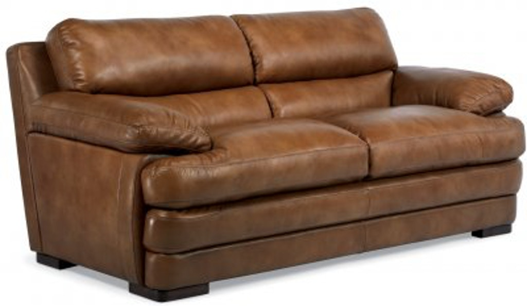 Amazing Flexsteel Dylan Leather Two Cushion Sofa Without Nailhead Interior Design Ideas Tzicisoteloinfo