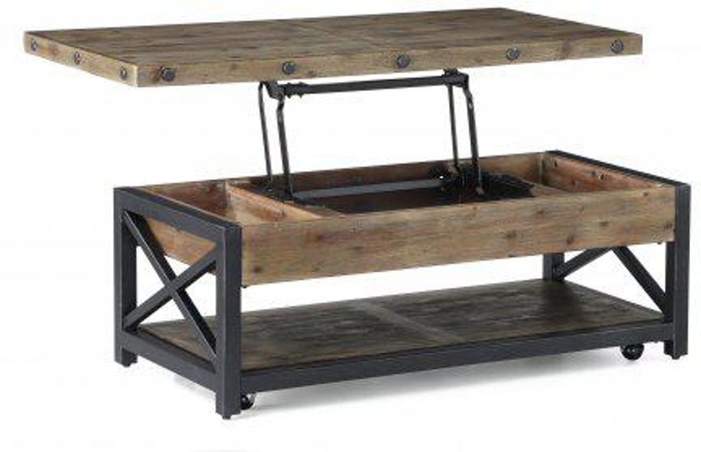 Flexsteel Carpenter Rectangular Lift Top Coffee Table With Casters