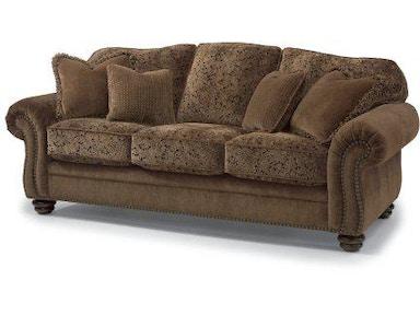 Flexsteel Bexley Leather Sofa With Nailhead Trim 3648 31