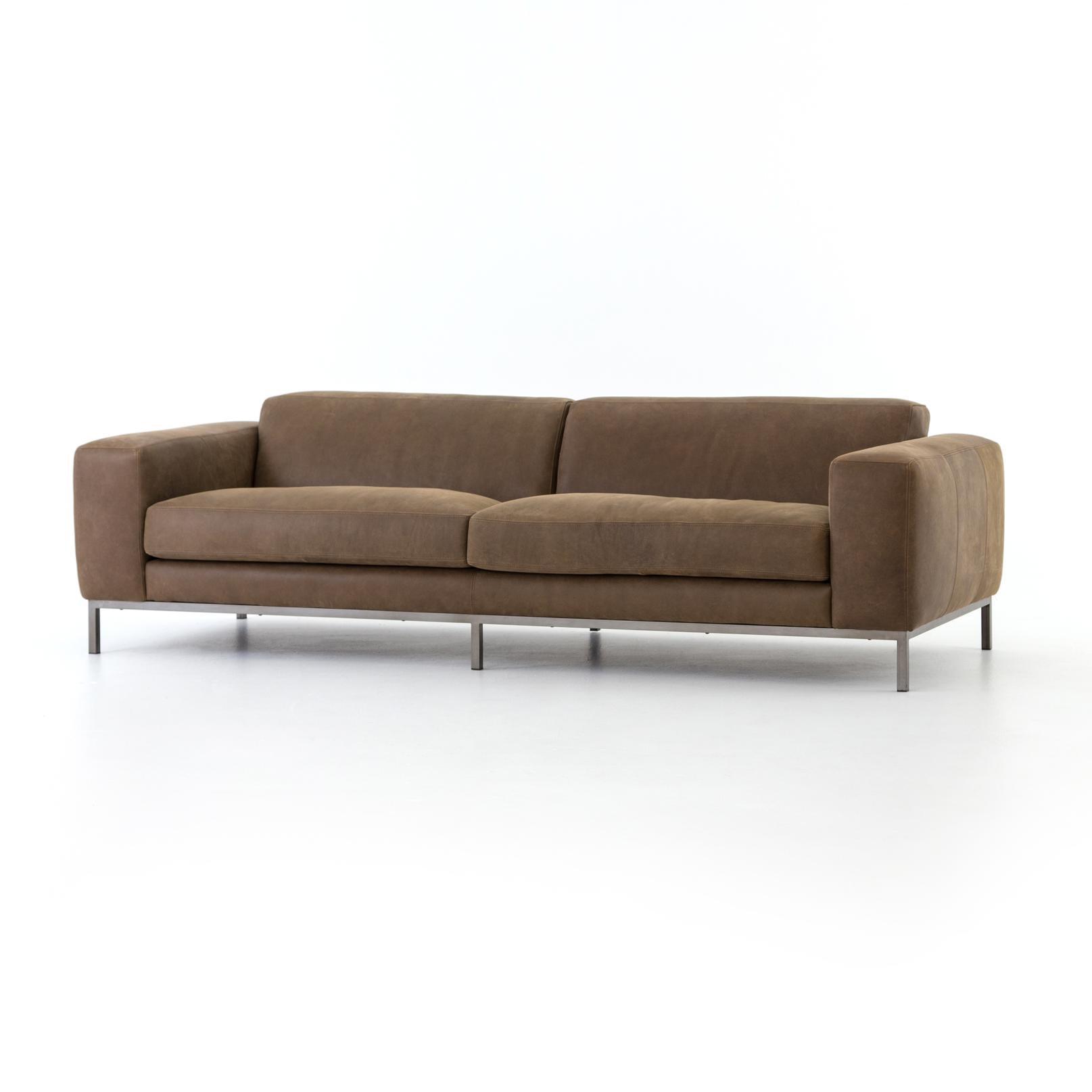 Four Hands Benedict Leather Sofa 96 Umber Grey CKEN 12748 061 In Portland,