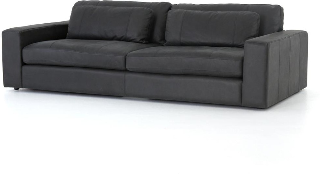Four Hands Bloor Leather Sofa 98 Umber Black CKEN-105-071 - Portland ...