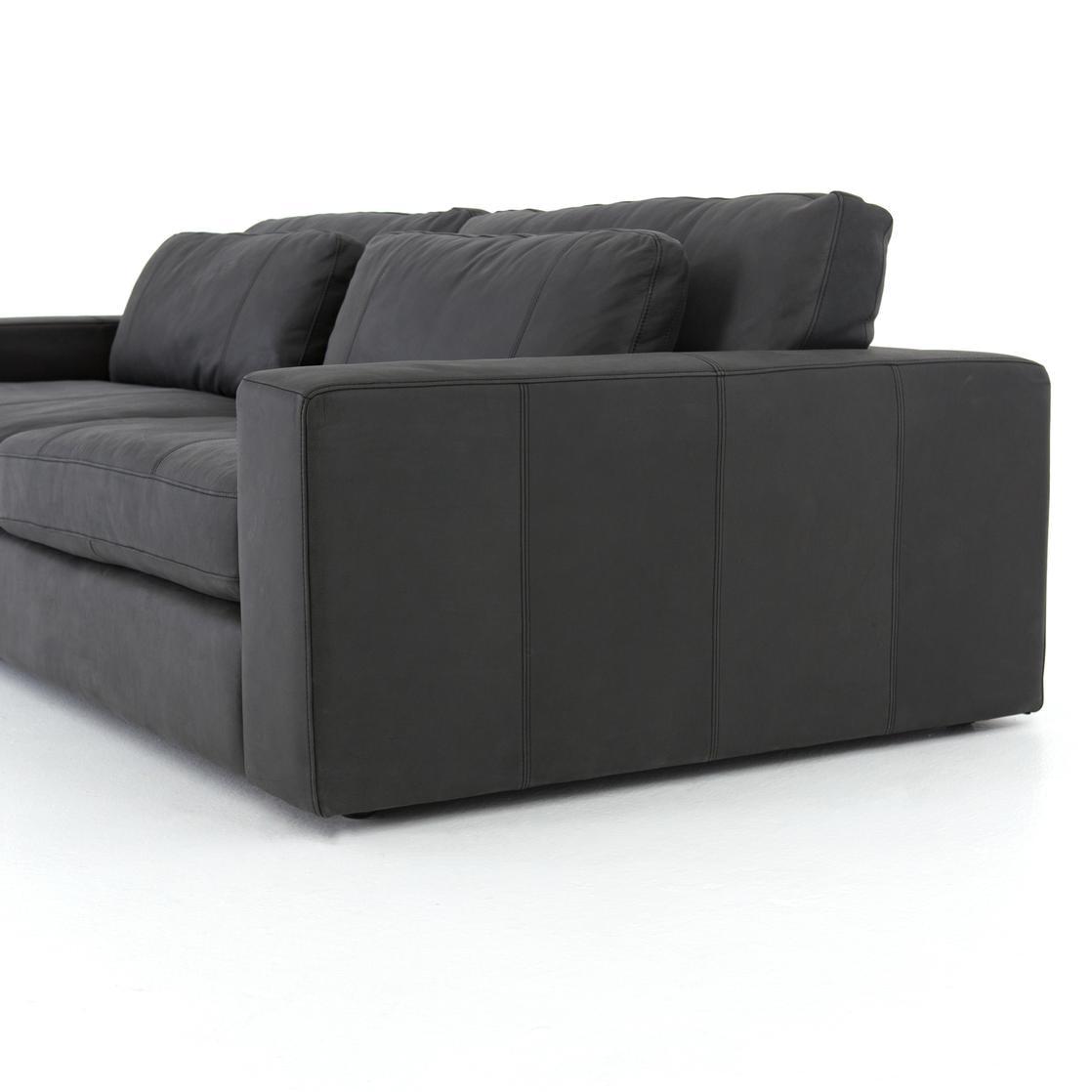 Four Hands Bloor Leather Sofa 98 Umber Black CKEN 105 071 In Portland,