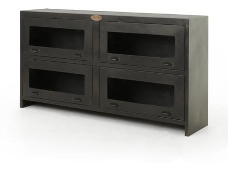 Four Hands Rockwell Media Cabinet-Antique Iron IRCK-MC-214 - Four Hands Rockwell Media Cabinet-Antique Iron IRCK-MC-214 IRCK-MC