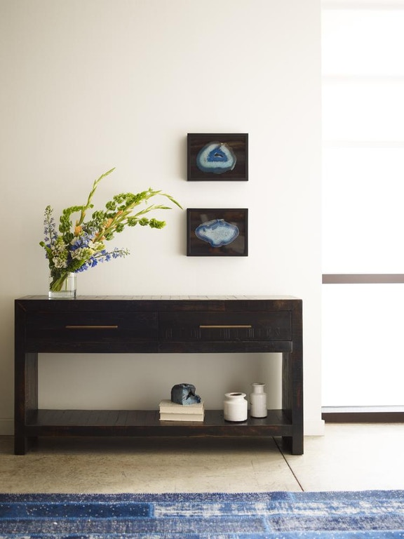 Four Hands Suki Console Table Burnished Black Vhad F085