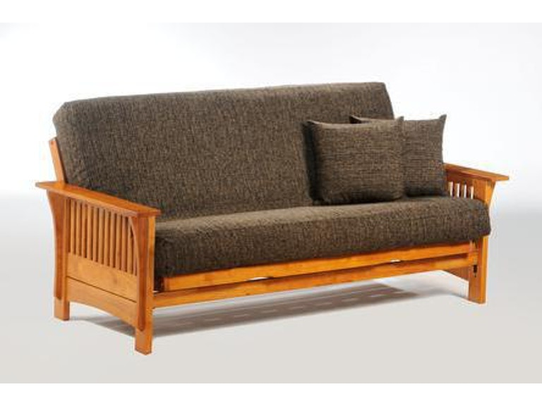 Night And Day Furniture Autumn Queen Futon Frame In Honey Oak Finish Ba Aut