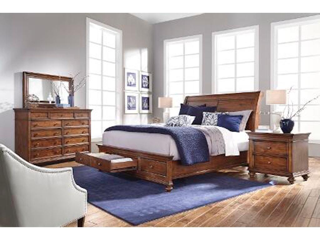 Aspenhome 5 Piece Queen Sleigh Storage Bed Set Camden Sleigh Bed Sb Cognac Brown Queen Set