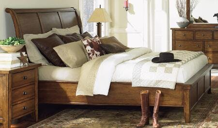 Aspenhome 5 Piece Cal King Sleigh Bed Set Cross Country Sleigh Bed Saddle Brown Cal King Set