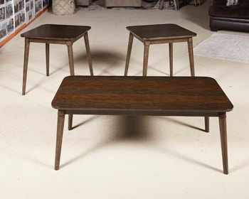 Dark Brown Ashley Furniture Signature Design Set of 3 Contemporary Neilmond Occasional Table Set