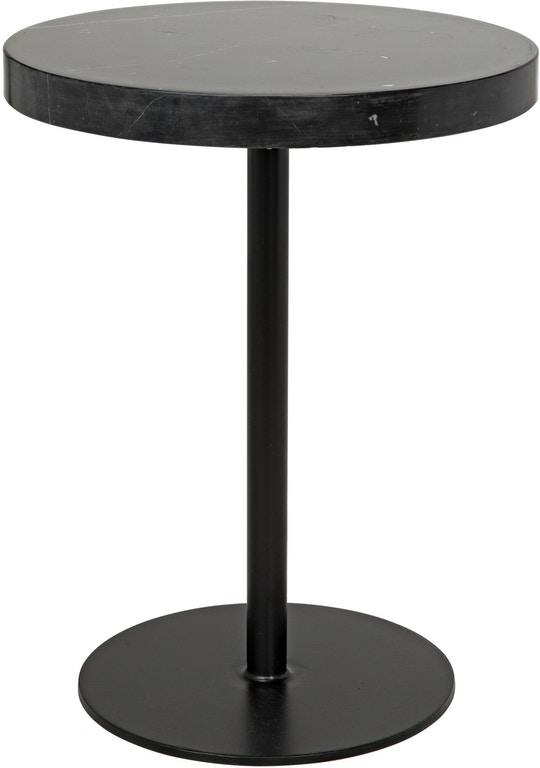 Stone Top Side Table Black Metal Tall