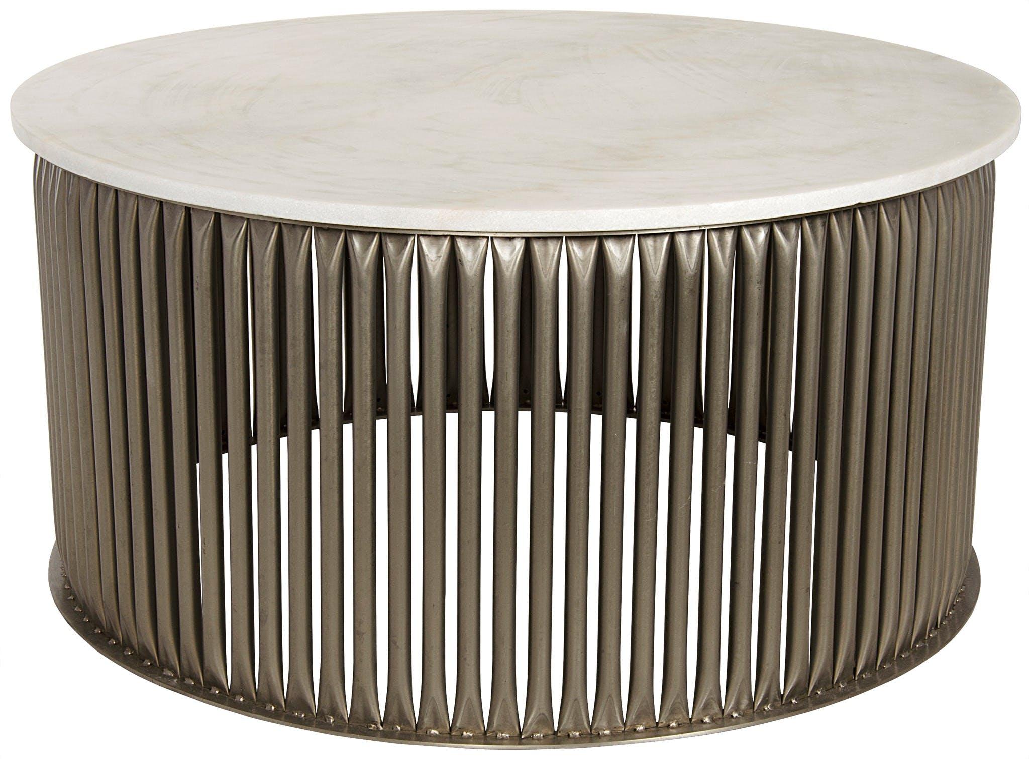 Noir Lenox Coffee Table Antique Silver Metal And Stone Gtab1008asv Portland Or Key Home