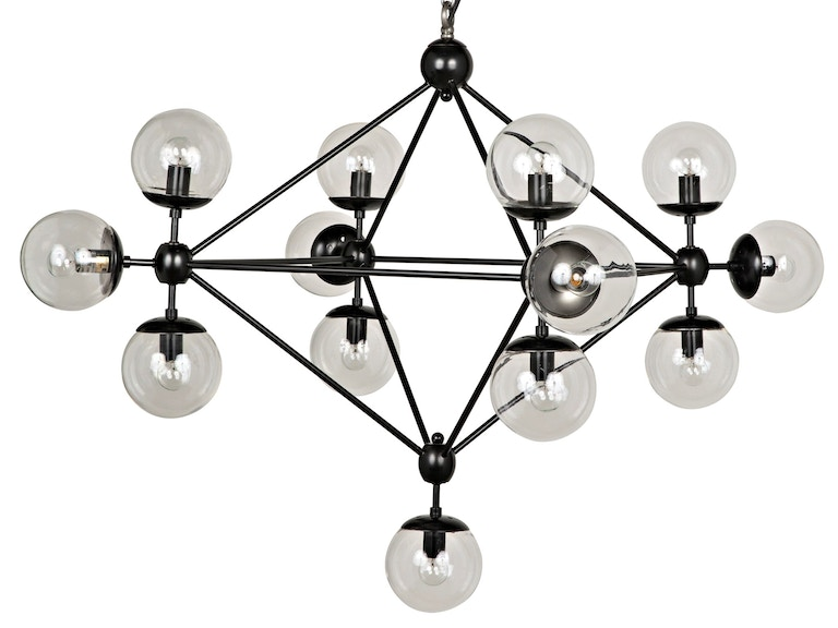 Noir Pluto Chandelier Black Metal Small