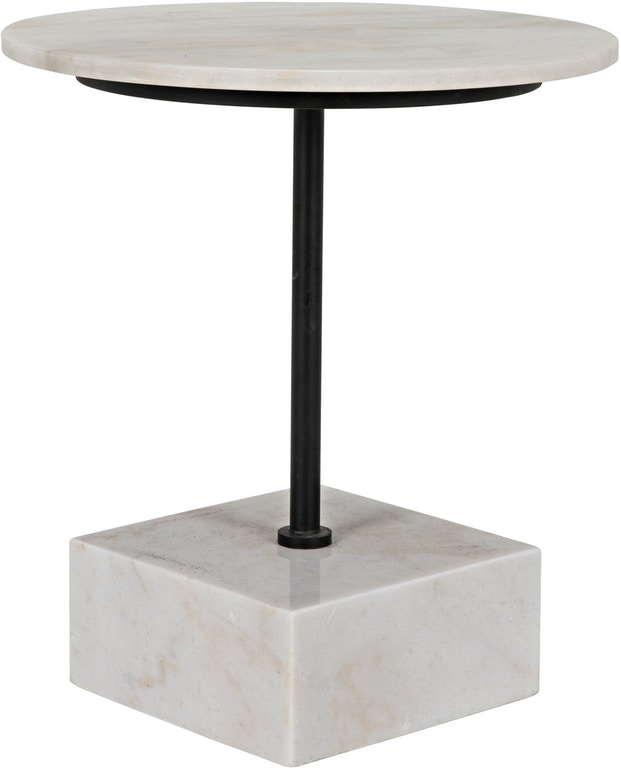 Noir Rodin Side Table Black Metal Finish With White Stone