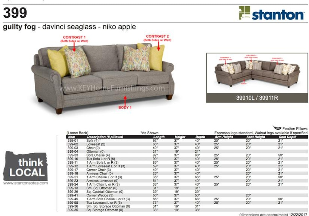 Stanton Furniture 399 Sectional In Portland Oregon