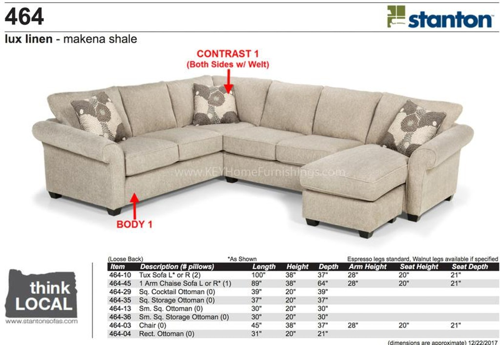 Stanton 464 Sectional Portland Or Key Home Furnishings