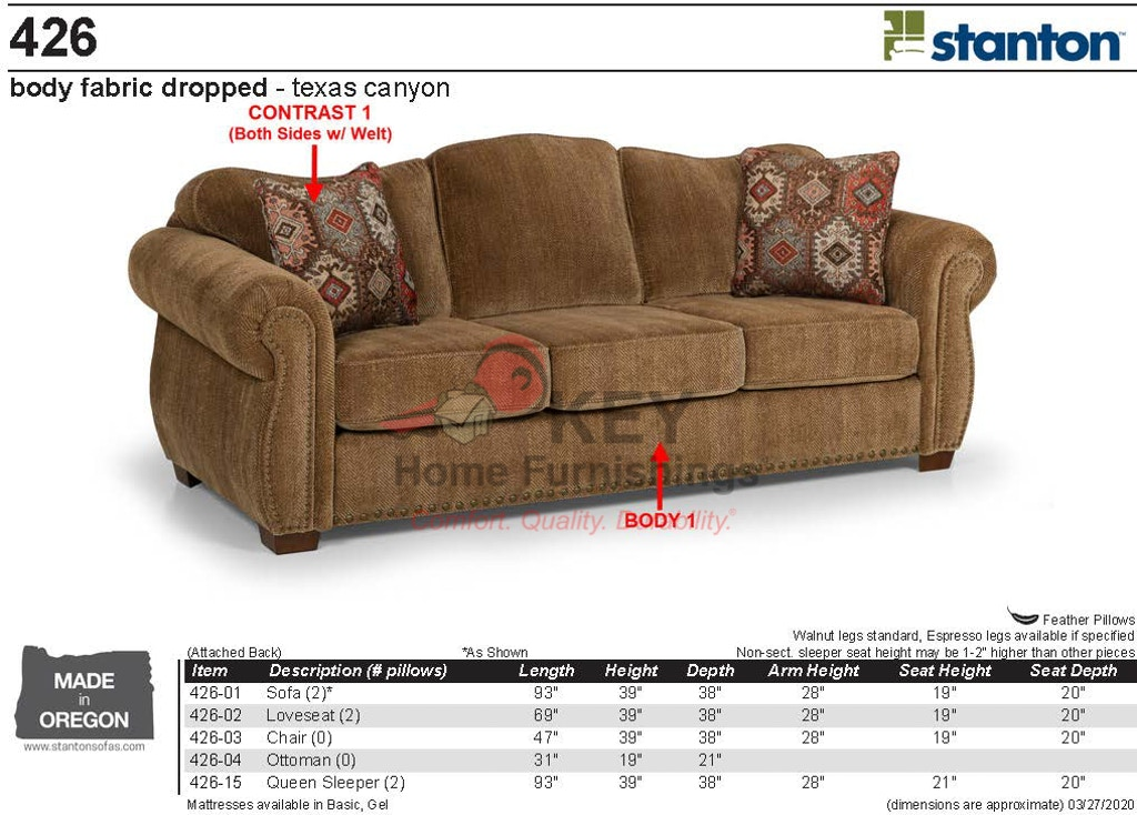 Stanton Sofa 42601 - Portland, OR | Key Home Furnishings