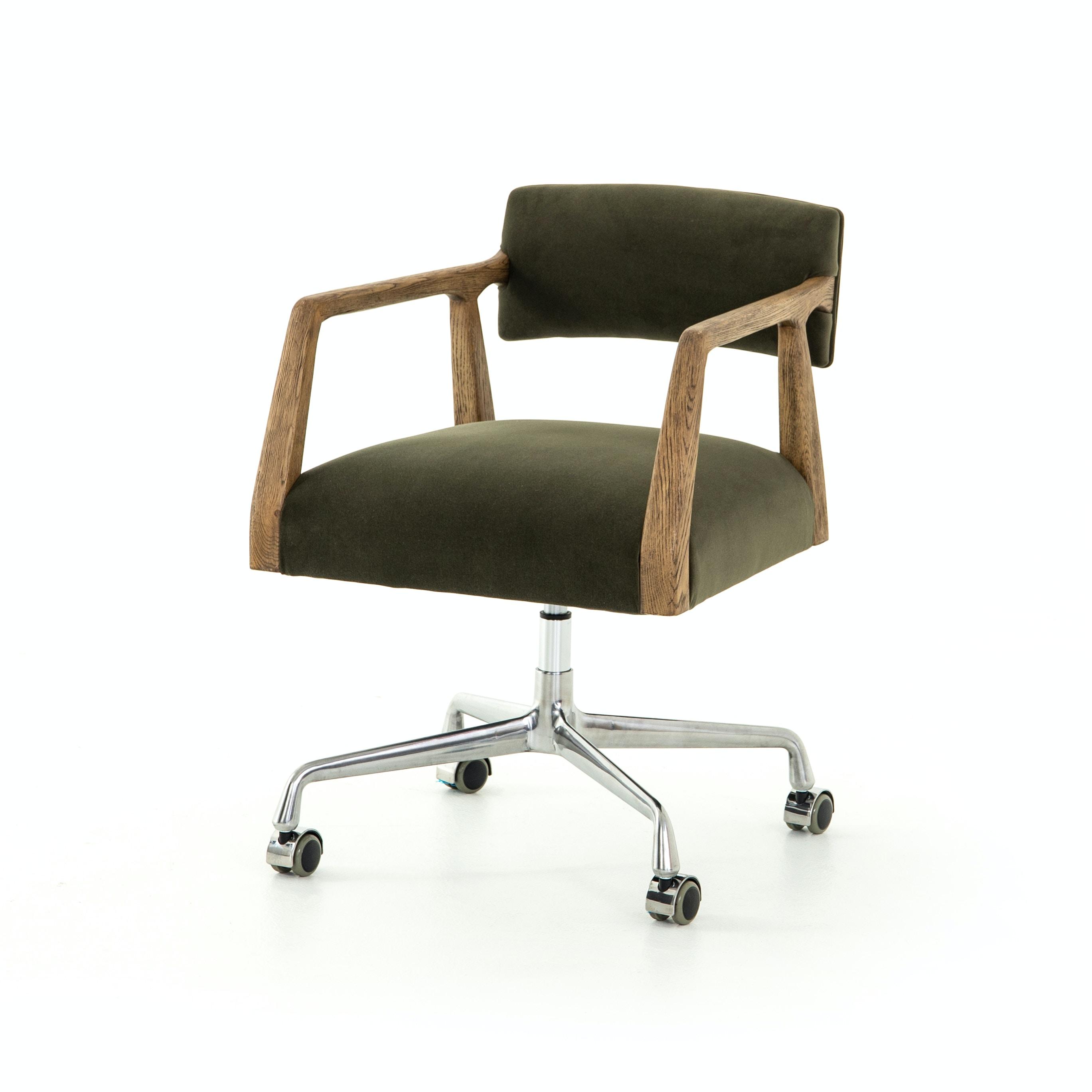 Furnish Home Tyler Desk Chair   Modern Velvet Loden CABT 76 248