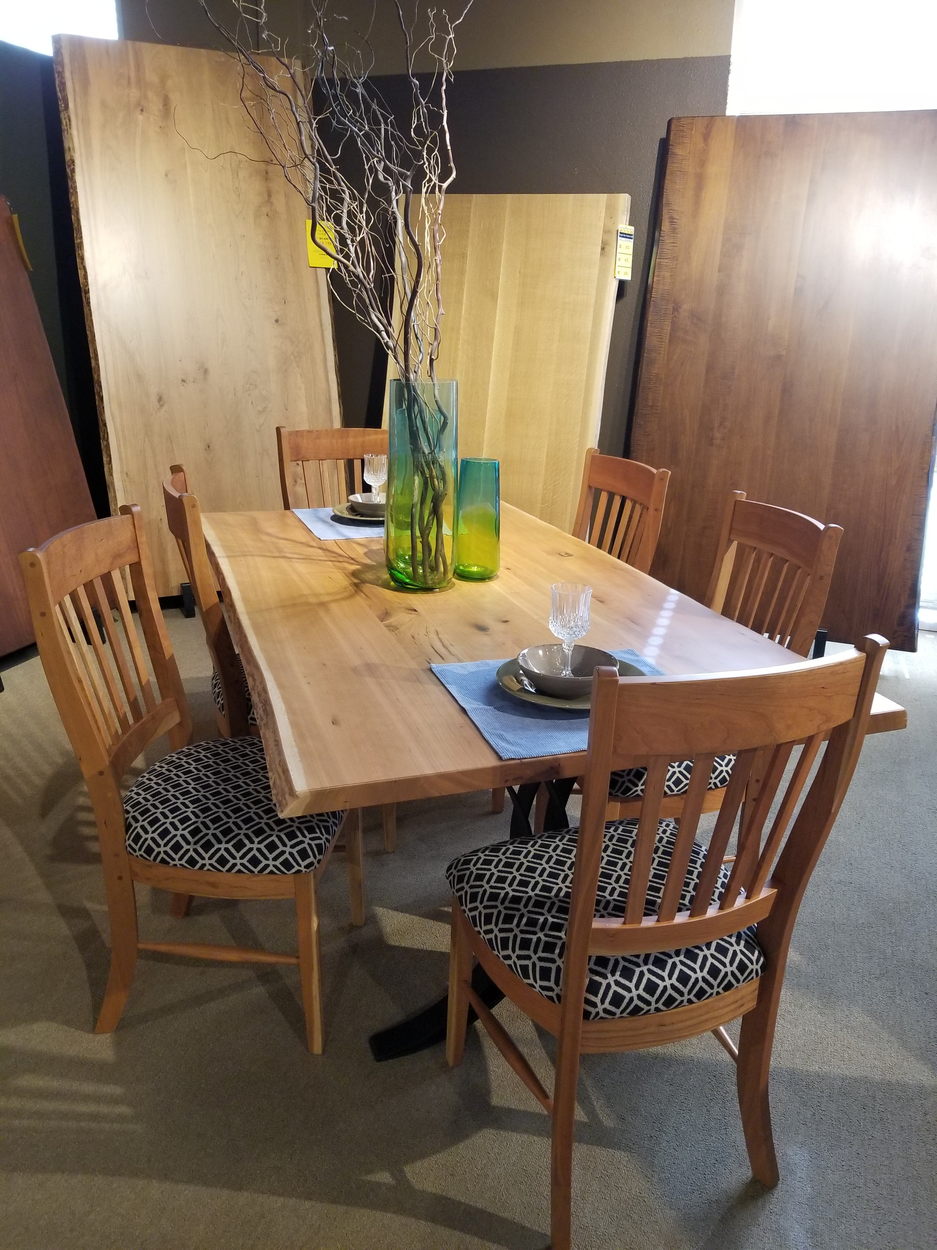 Marvelous Clearance 7pc Live Edge Rustic Cherry Dining Set PKGRCLIVEEDGE