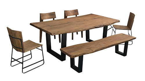 Live Edge Rustic Dining Bench 75355 1