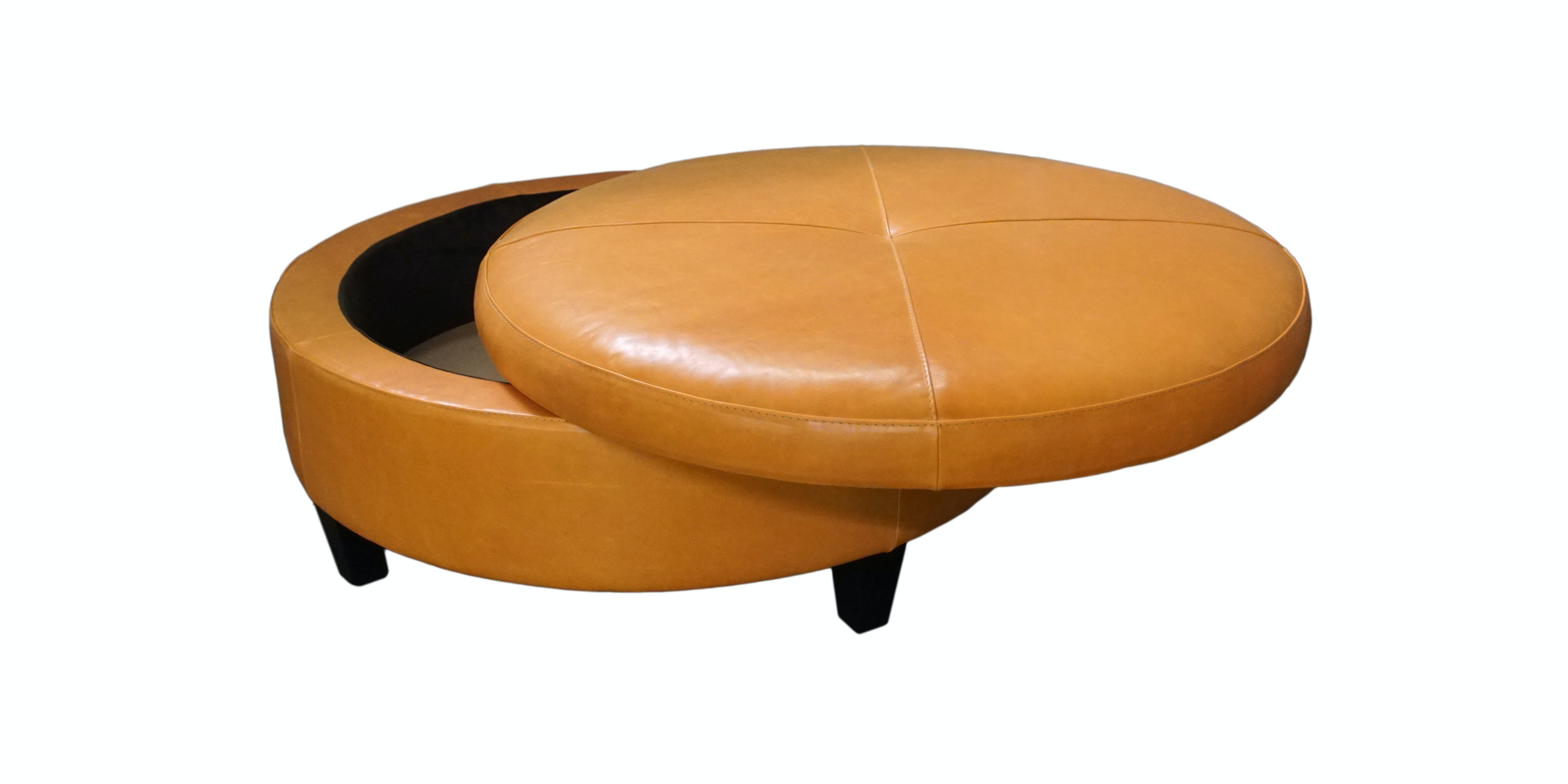 Charmant Jonathan Louis International Large Leather Round Storage Ottoman 82362