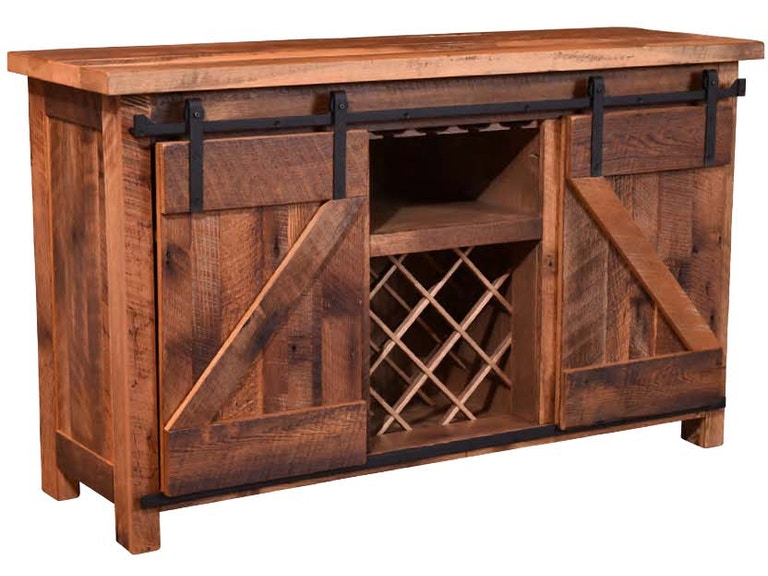 Urban Barnwood Furniture Dining Room Barn Door Wine Server W Goblet Holders 211 362160G At Treeforms Gallery