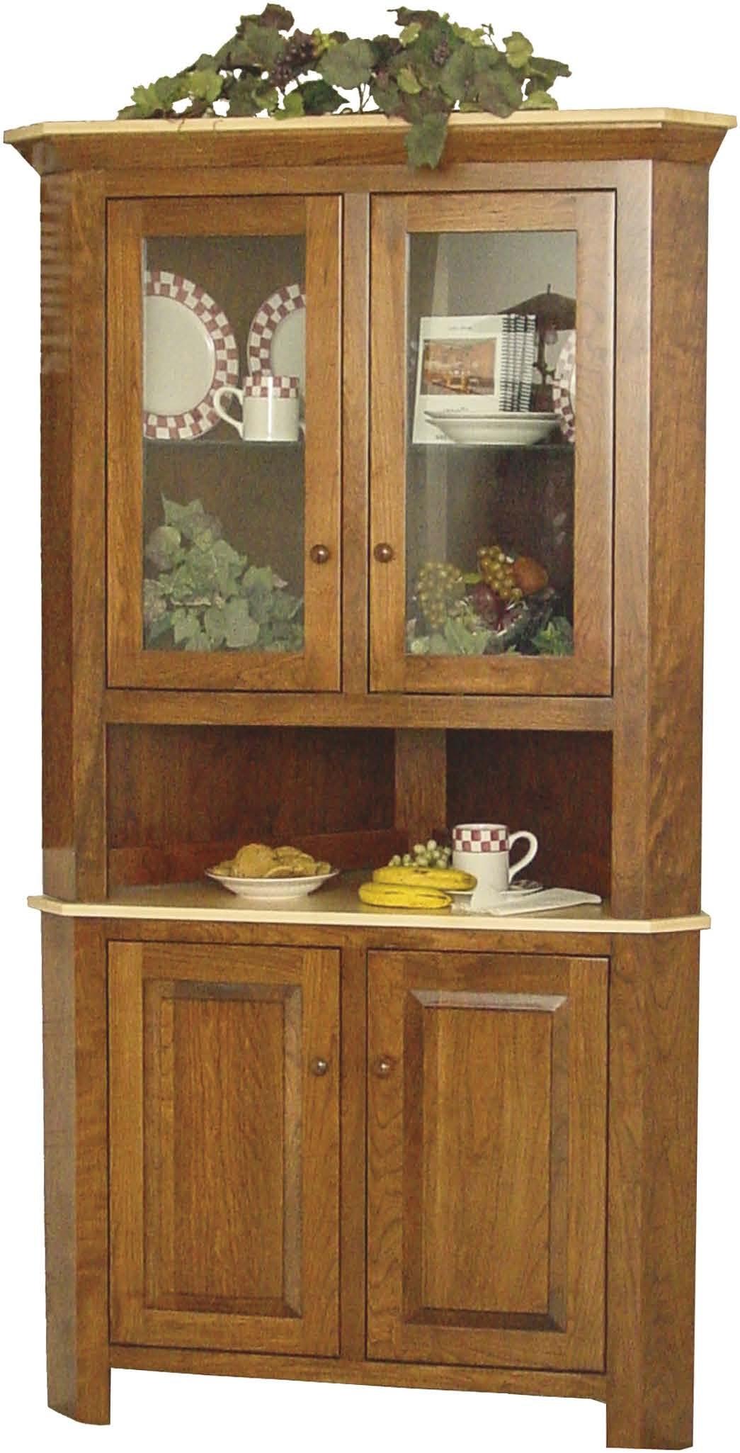 Townline Furniture LLC Brookline Corner Hutch; Solid Wood; 2 Adjustable  Glass Shelves W/