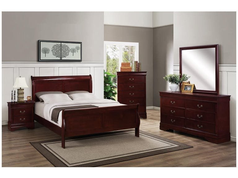 Crown Mark Louis Phillipe Complete Queen Bedroom Set Available In Cherry Grey Black Or White