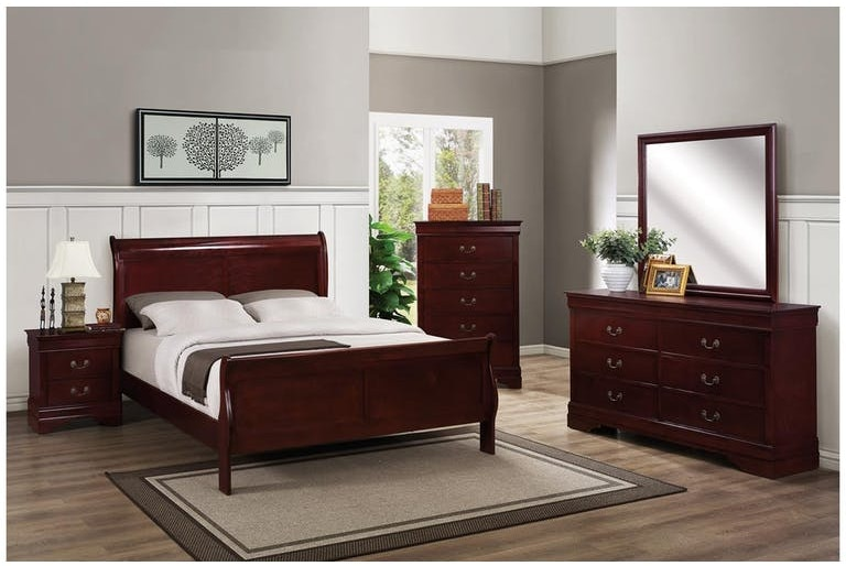 Bernards Cherry or Grey or Black: Louis Phillipe Queen Bedroom Set