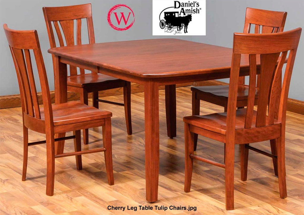 Daniel S Amish Dining Cherry Leg Table Tulip Chairs