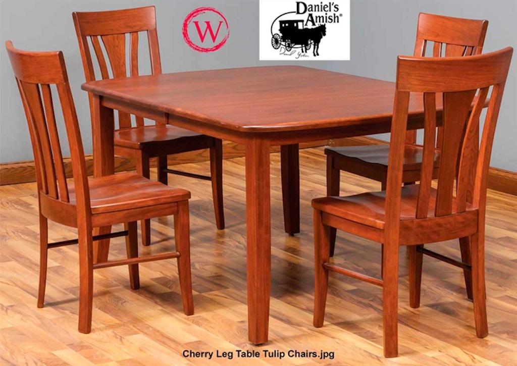 Daniel\'s Amish Dining - Cherry Leg Table Tulip Chairs