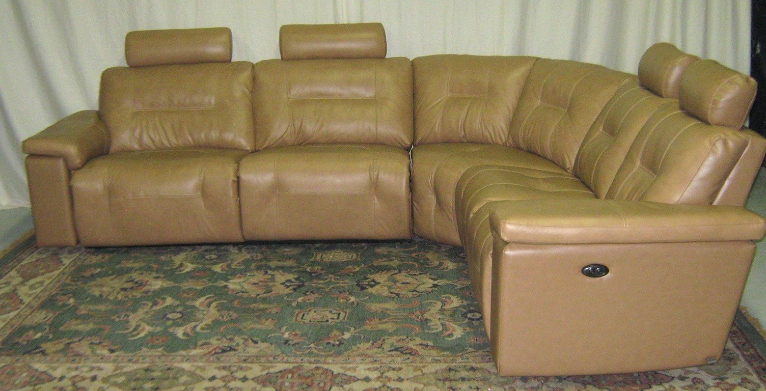 Elran Axel Power Leather Sectional Warehouse Clearance, As Is. 4025ECOPCLR