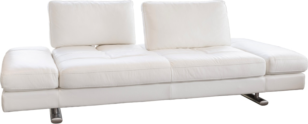 Kuka Home 1372 White Leather Sofa One Headrest
