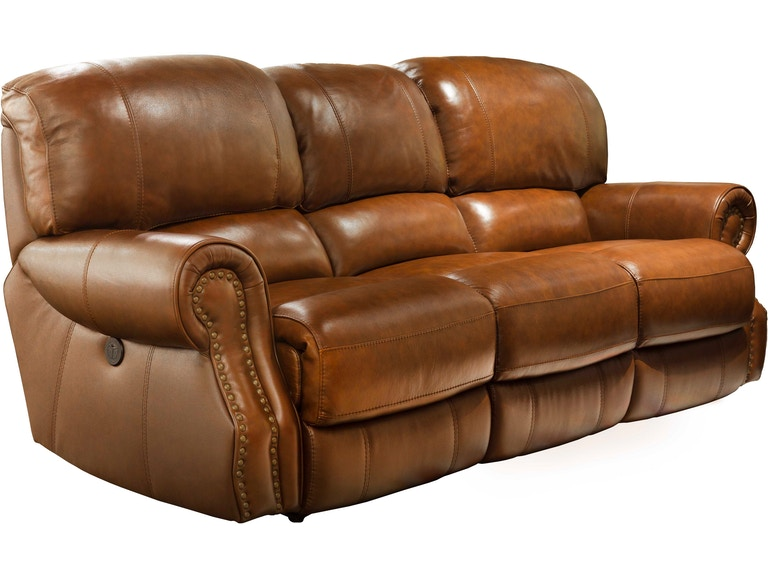 31004ed Lm 3p Brown Power Reclining Leather Sofa W Nailhead Trim
