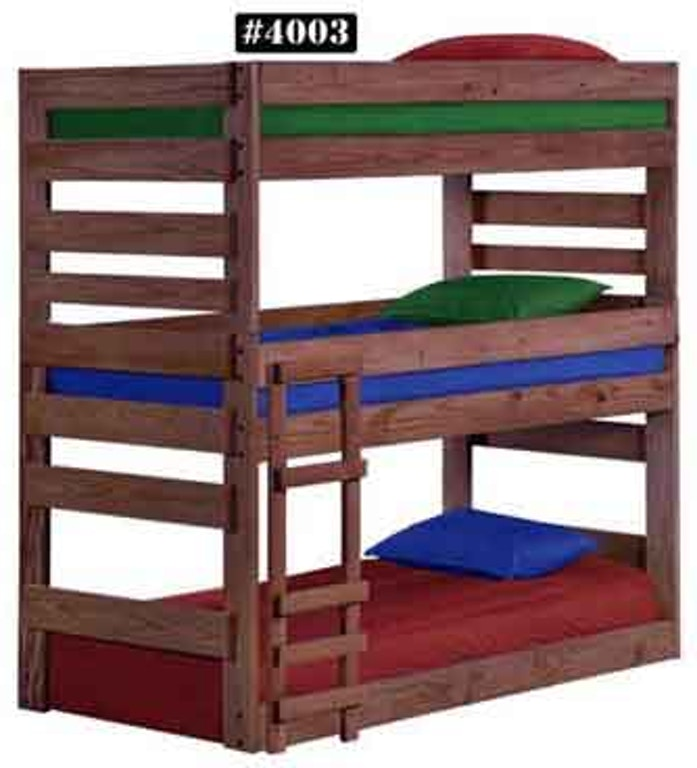 4003xl Twin Triple Bunk Bed W Queen Rails American Oak And More Furniture Store