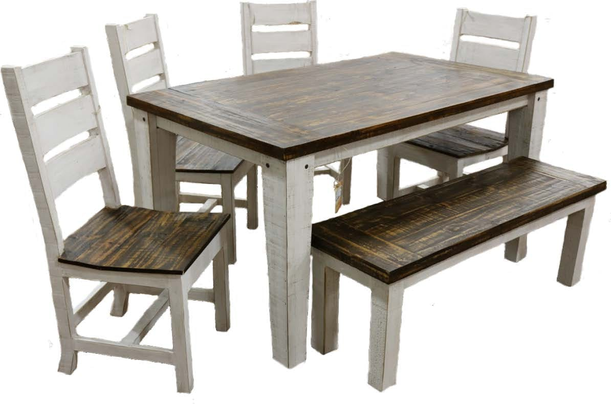 Picture of: 03 2 10315w 119 5 Set Weathered White Coffee Econo 5 Ft Dining Group