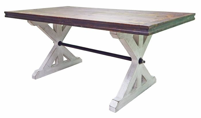 Merveilleux Million Dollar Rustic 03 2 10315W 136 6   Weathered White/Coffee Dining  Table At American Oak And More